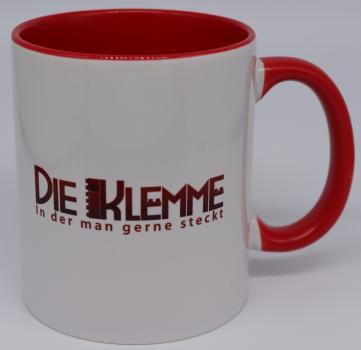 Die Klemme - Tasse in Rot / Weiß mit Logo